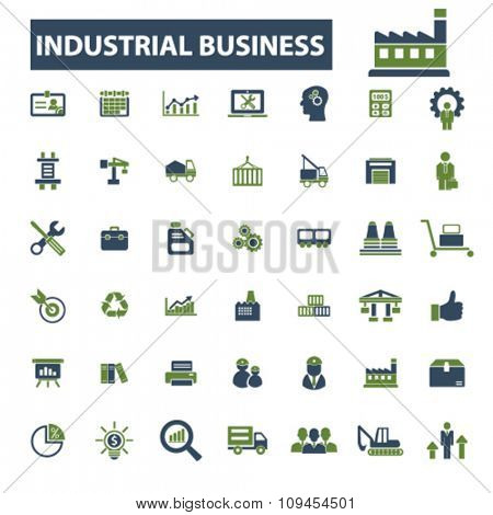 Industrial business, factory, industry, meeting, logistics, manufacturing, plant, engineering, business concept  icons, signs vector concept set for infographics, mobile, website, application