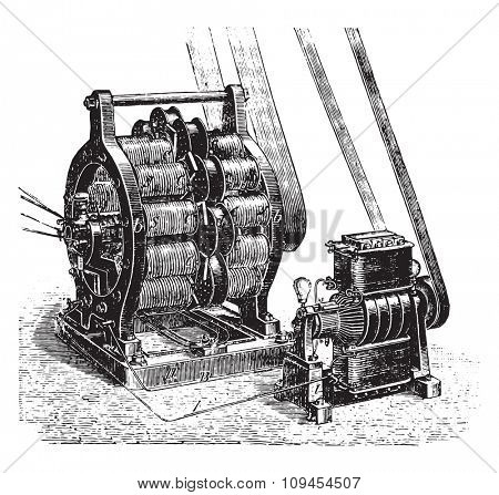 Machine AC and DC currents excitatrice to Siemens, vintage engraved illustration. Industrial encyclopedia E.-O. Lami - 1875.
