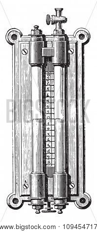 Gasworks Gauge barrels, capacitor, scrubbers, etc, vintage engraved illustration. Industrial encyclopedia E.-O. Lami - 1875.