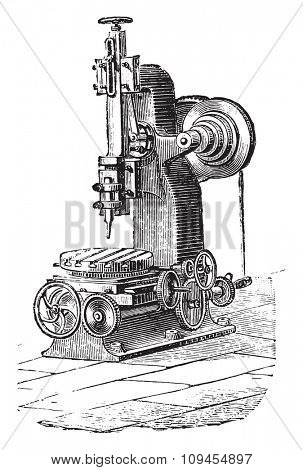 Slotting machine, vintage engraved illustration. Industrial encyclopedia E.-O. Lami - 1875.