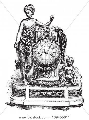 Pendulum Louis-six, vintage engraved illustration. Industrial encyclopedia E.-O. Lami - 1875.