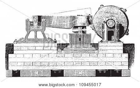 Front hammer, vintage engraved illustration. Industrial encyclopedia E.-O. Lami - 1875.