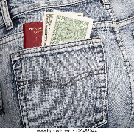 The Russian Passport And Two Notes On One Dollar In A Hip-pocket Of Jeans