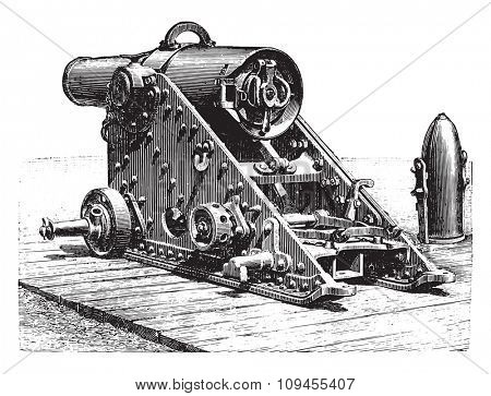 Mortar striped 220 millimeters, model 188, on lookout, vintage engraved illustration. Industrial encyclopedia E.-O. Lami - 1875.