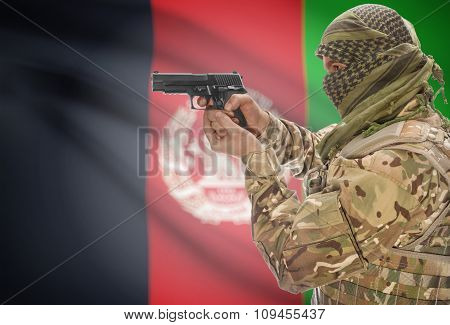Male In Muslim Keffiyeh With Gun In Hand And National Flag On Background - Afghanistan
