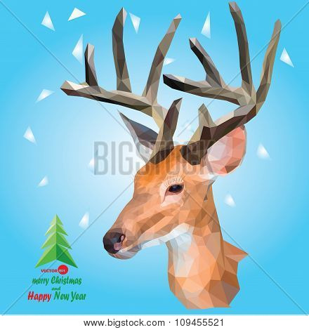 Deer with horns on the blue background with snow, small christmas tree