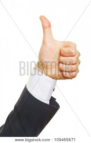 Profie view of a thumbs up from a business man
