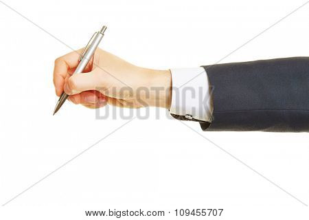 Hand of manager writing with a ballpoint pen