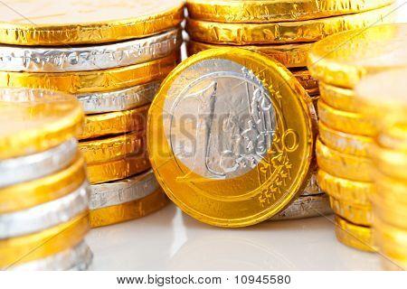 Chocolate Euro Money In Closeup