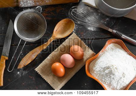 Chicken eggs and wheat flour for the dough preparation