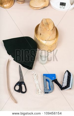 Felt Hood, Wooden Hat-block, Tools For Hatmaking