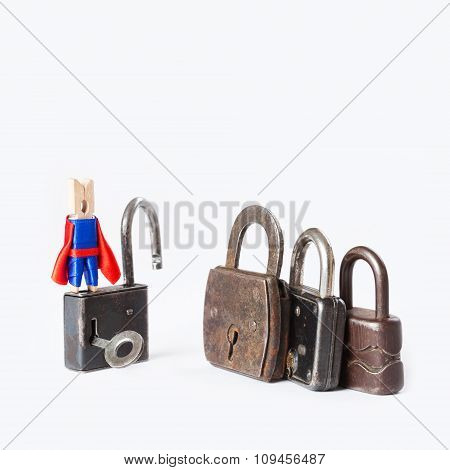 Clothespin superhero housebreaker with opened padlock. Vintage, retro design closed iron padlocks