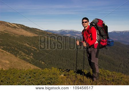 Hiking in the mountains.