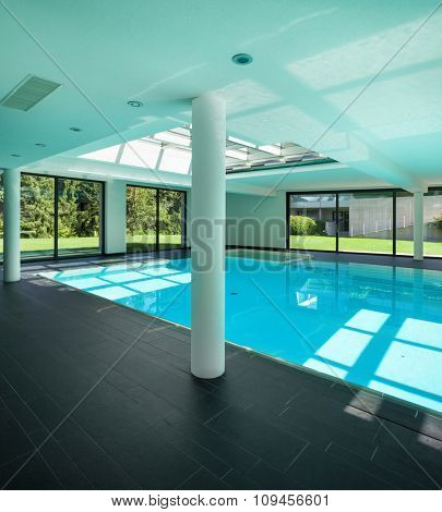 indoor swimming pool of a modern house with spa