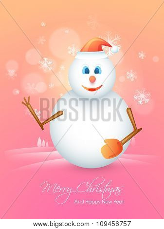 Elegant Flyer, Banner or Pamphlet with cute Snowman in Santa cap for Merry Christmas and Happy New Year celebrations.
