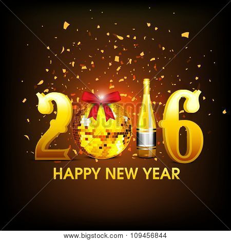 Stylish golden text 2016 with disco ball and champagne on shiny brown background for Happy New Year celebration.