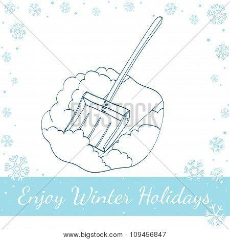 Snow Shovel. Vector Hand Drawn Illustration