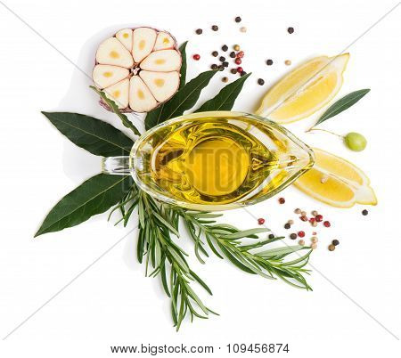 Spices And Olive Oil, View From Above