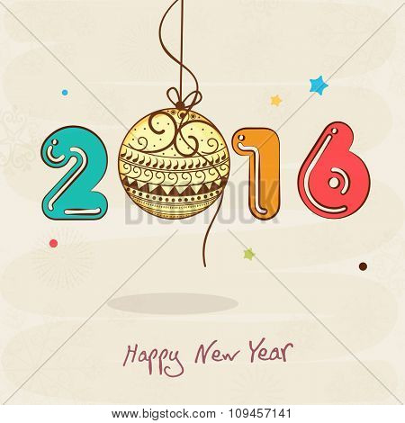 Colorful text 2016 with floral Xmas Ball hanging on stars decorated background for Happy New Year celebration.