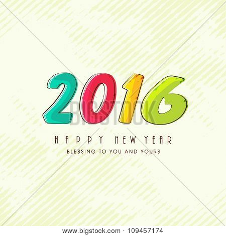 Greeting card design with colorful text 2016 for Happy New Year celebration.