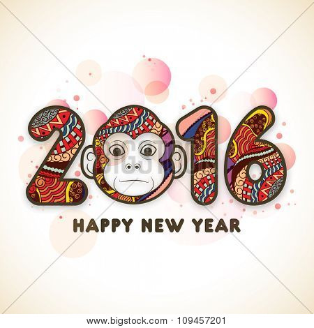 Colorful floral design decorated stylish text 2016 with cute Monkey for Chinese New Year celebration.