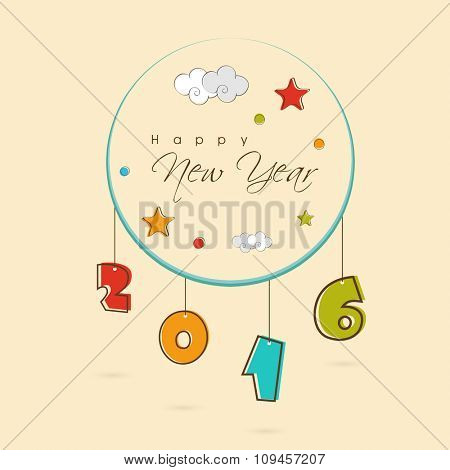 Greeting card design with colorful hanging text 2016 for Happy New Year celebration.