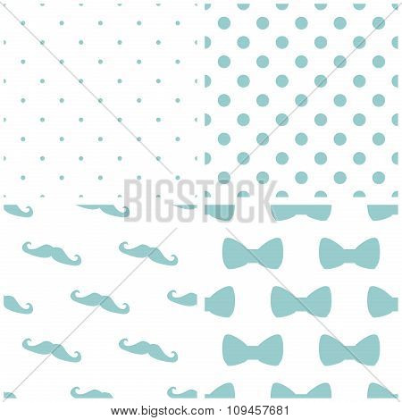 Tile vector pattern set with mustache and polka dots background