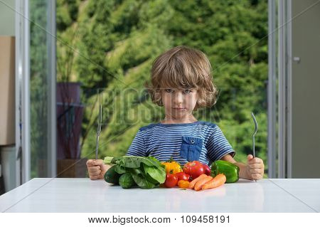 Little Boy Vegetable Meal