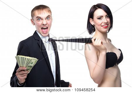 Crazy man and woman holding his tie