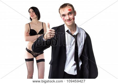Man in kisses with thumb up and woman