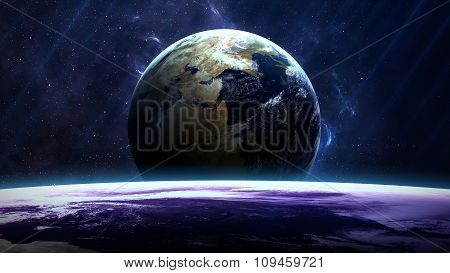 Planet over the nebulae in space. Elements of this image furnished by NASA