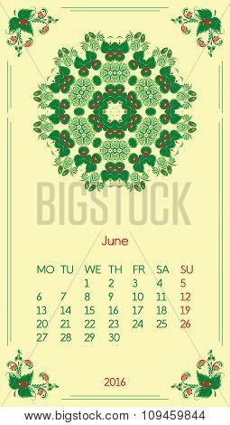 Calendar 2016. Template for month June