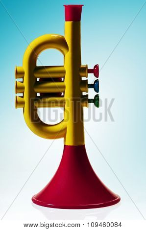 plastic toy trumpet w/clipping path