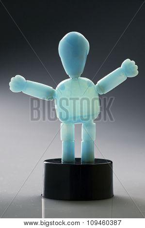 blue limb-moving figurine