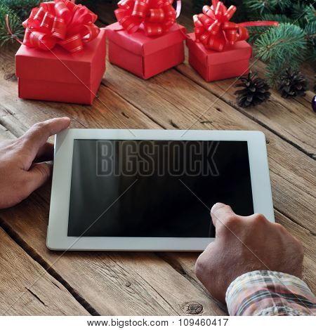 Man Clicks On The Blank Screen Tablet Computer Closeup