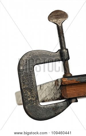 old steel c-clamp