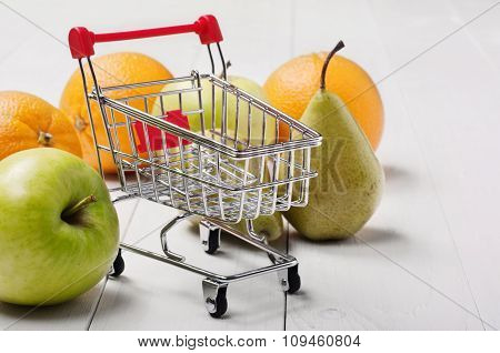 Small Shopping Cart With Fruit