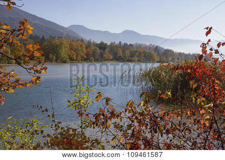 Scenic Autumnal Landscape Lake Tegernsee