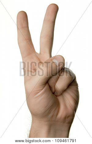 hand showing victory sign with fingers