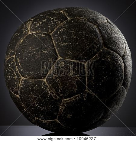 an old leather soccer ball