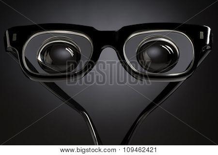 black thick glasses
