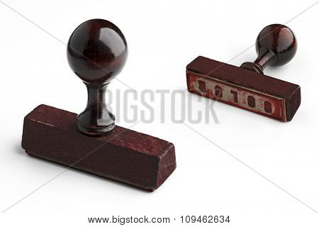 two views of a rubber stamp