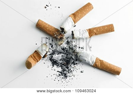 cigarette butts and ashes