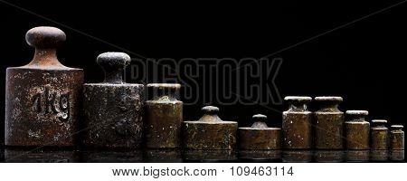 kitchen scale weights on black