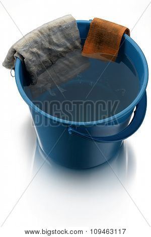 blue water bucket with cleaning cloths on white
