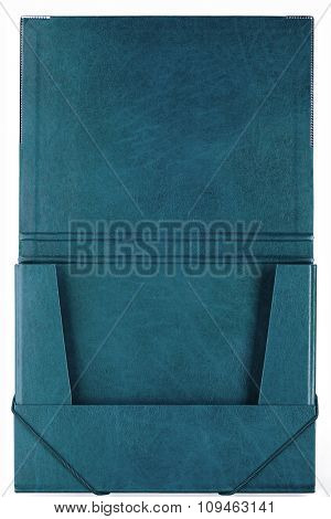 turquoise folder on white
