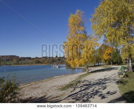 Idyllic Lakeside Walkway With Autumnal Trees