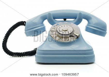 a light blue telephone on white - with clipping path both for telephone and the dial