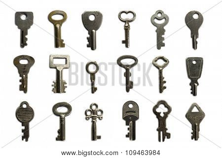 a dozen and a half of mail-box and other small keys on white