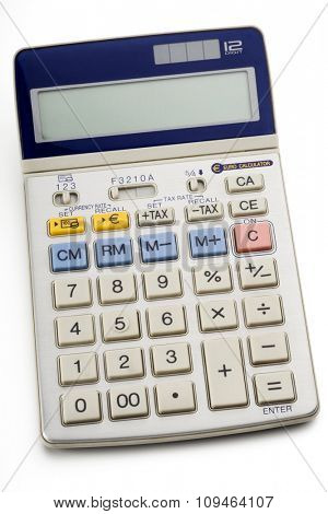 an electronic calculator on white